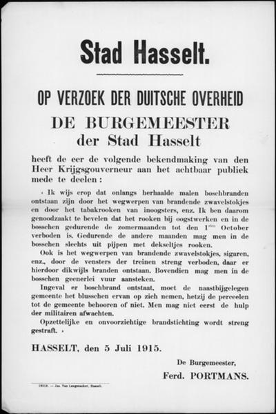 Stad Hasselt , affiche van 5 juli 1915 - maatregelen tegen bosbranden.