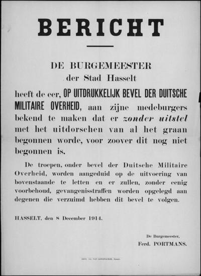 Stad Hasselt, affiche van 8 december 1914 - dorsen van graan.