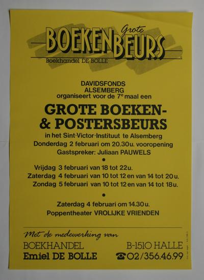 Affiche van de 7de boeken- en posterbeurs van het Davidsfonds Alsemberg