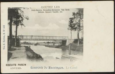 Souvenir de Beeringen.- Le Canal. Biscuits Parein Anvers. Goutez les Petit-Beurre, Bruxelles-Kermesse, Van Dyck, Délices, Dessert Vanillé, etc.