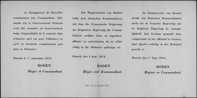 Hasselt, affiche van 1 september 1914 - geen steun in offensief.