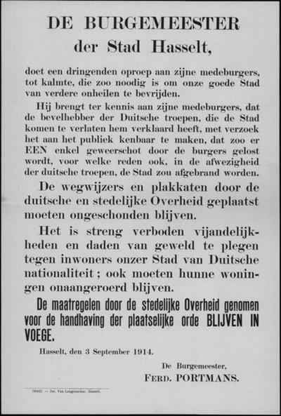 Stad Hasselt, affiche van 3 september 1914 - verbod schot te lossen.