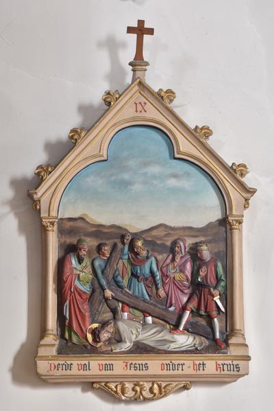 Derde val van Jesus onder het kruis