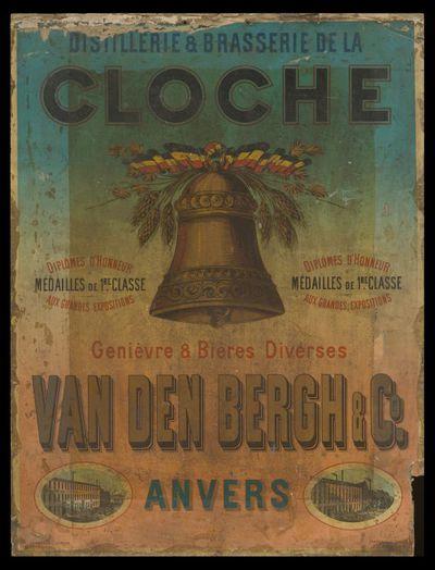 Affiche 'Distillerie & Brasserie de la Cloche' voor stokerij Van den Bergh & C°, Antwerpen, ca. 1880-1893