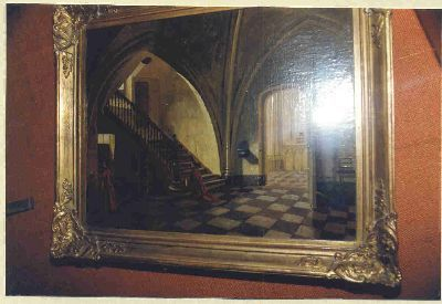 Interieur van de Leuvense Sint-Pieterskerk met de trap naar de kapittelzaal