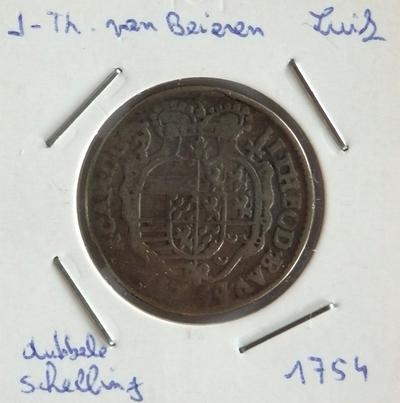 2 Schelling, geslagen te Luik, 1754, Johan-Theodoor van Beieren, zilver