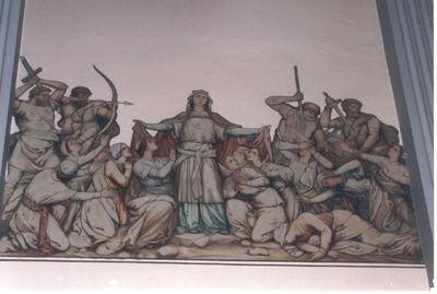 muurschilderij, Marteldood van Ursula van Keulen - H. Ursula als mantelmadonna en de 1000 Maagden