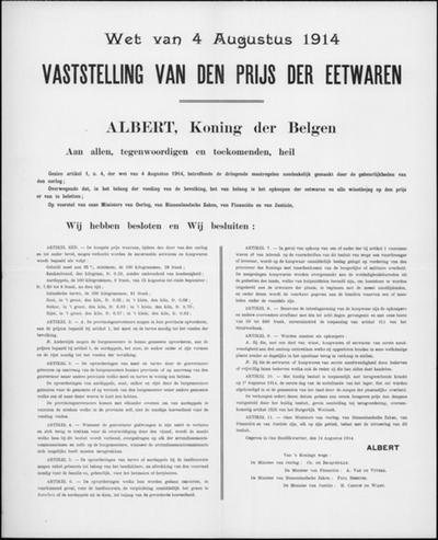 Brussel, affiche van 14 augustus 1914 - vaststelling prijs eetwaren.