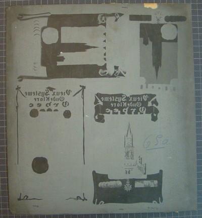 Drukplaat voor litho buiketiket 'Vieux Systeme, Oude Klare, Orbec', voor Van Hoorebeke, Gent