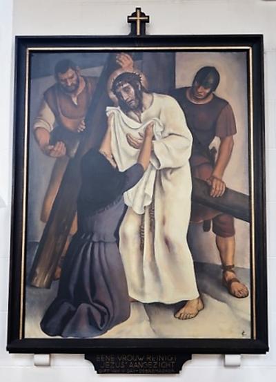 Kruiswegstatie VI: Veronica droogt het aangezicht van Jezus af