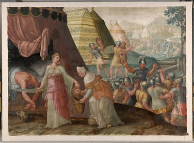 Judith bergt het hoofd van Holofernes in de etenszak van Abra (O.T., Judith 13, 1-10)
