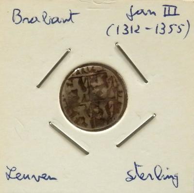 Sterling, geslagen te Leuven,1312-1355, Hertog Jan III, Brabant, zilver
