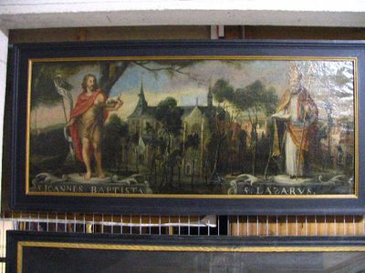 Kerk en kerkhof van Sint-Jacob te Leuven in 1627, met Johannes de Doper en de heilige Lazarus