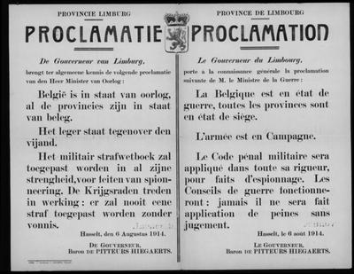 Hasselt, Provincie Limburg, affiche van 6 augustus 1914 - proclamatie.