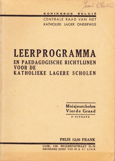 Leerprogramma en paedagogische richtlijnen voor de katholieke lagere scholen - Vierde graad