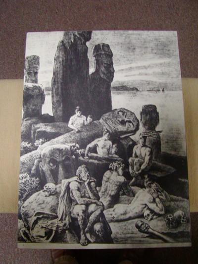 Foto van een oude aquarel van Pierre Loti met een voorstelling van de bewoners van het Paaseiland