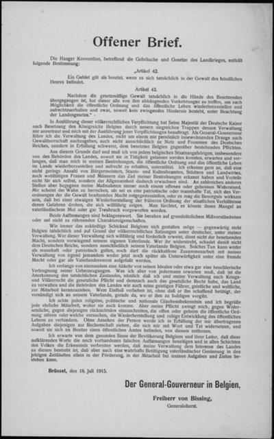 Brussel, affiche van 18 juli 1915 - Haagse conventie over oorlogsrecht.