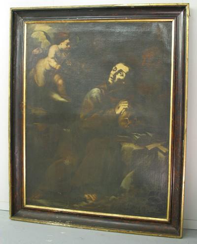 Heilige Franciscus van Assisi getroost door een musicerende engel
