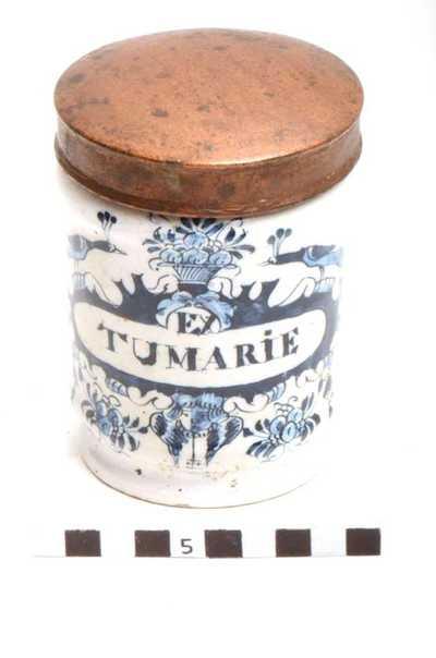 Delfts blauwe apothekerspot; EX TUMARIE