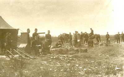 Karabiniers-Wielrijders op scherpschutterskamp (Beverlo, 1914).