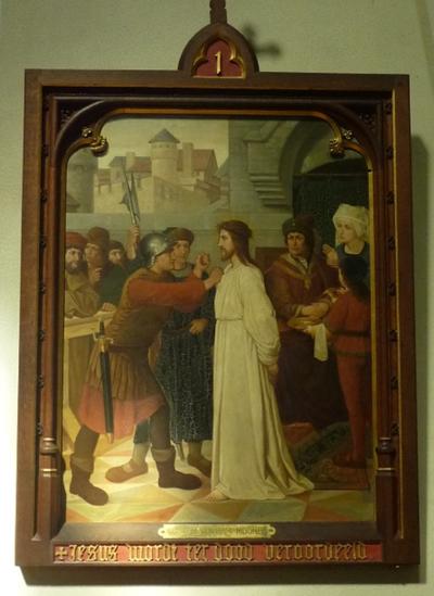 Statie 1: Jezus wordt ter dood veroordeeld.