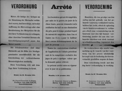 Brussel, affiche van 20 november 1914 - huur tijdens oorlog.