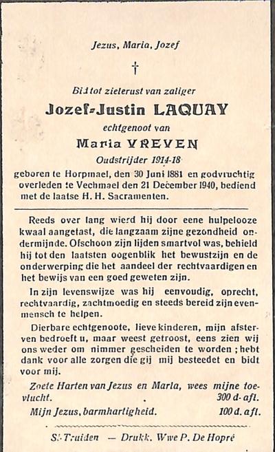 Doodsprent van Laquay Joseph Justin
