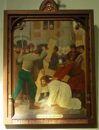 Statie 3: Eerste val van Jezus onder het kruis.