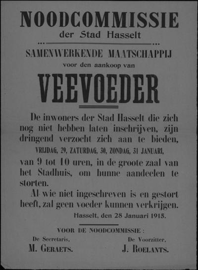 Stad Hasselt, affiche van 28 januari 1915 - aankoop veevoeder.