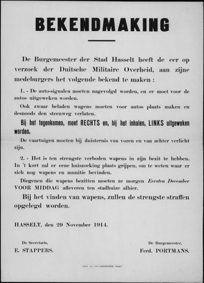 Stad Hasselt, affiche van 29 november 1914 - voorrang en verlichting voertuigen; verbod van wapens.