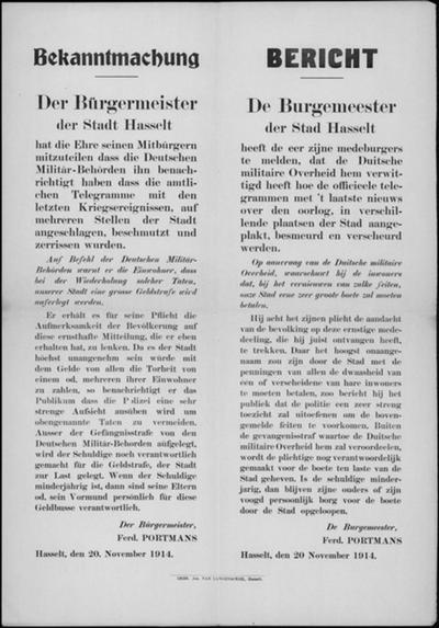 Hasselt, affiche van 20 november 1914 - gevolgen besmeuren van Duitse aanplakbrieven.