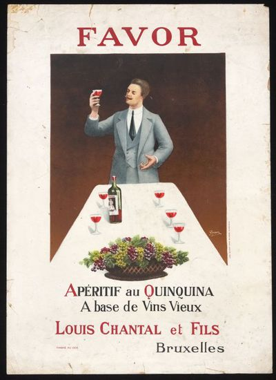 Interieuraffiche 'Favor, Apéritif au Quinquina à base de Vins Vieux' voor stokerij Louis Chantal, Brussel, ca. 1910-1920