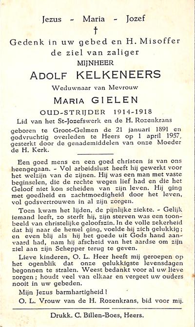 Doodsprent van Kelkeneers Adolf.
