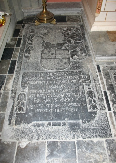 Grafsteen van Frederik en Gerard Vrericx (neef?), Maria en Anna van Melbeeck en Frederik Vrericx (jr.?)