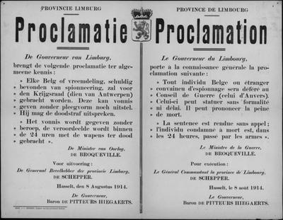 Hasselt, Provincie Limburg, affiche van 8 augustus 1914 - proclamatie inzake berechting.
