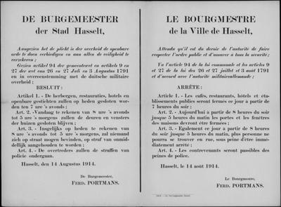 Stad Hasselt, affiche van 14 augustus 1914 - vaststelling uren door burgemeester.