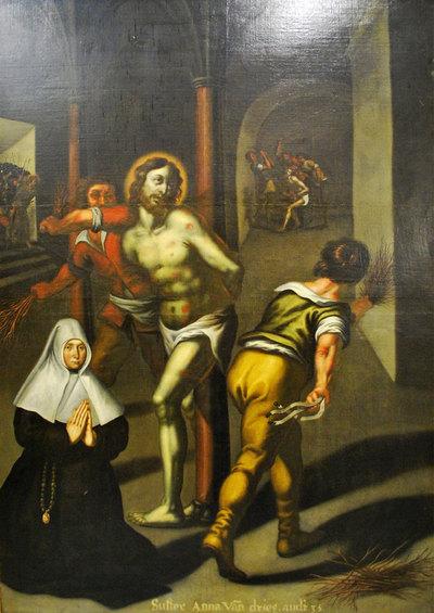 De geseling met een schenkersportret van een kloosterzuster