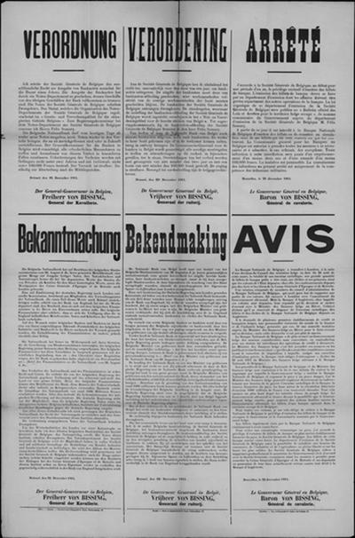 Brussel, affiche van 22 december 1914 - uitgifte bankbiljetten.
