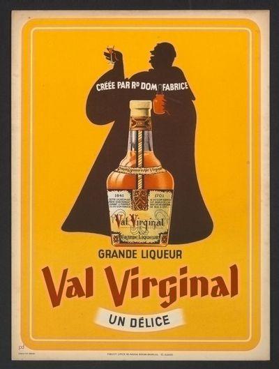 Pancarte 'Grande Liqueur Val Virginal' voor stokerij Hougardia, Hoegaarden, voor of in 1950
