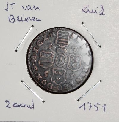 2 Oord, geslagen te Luik, 1751, Johan-Theodoor van Beieren, koper