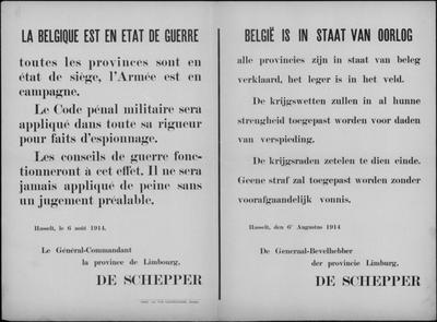 Hasselt, Provincie Limburg, affiche van 6 augustus 1914 - spionage berecht door krijgsraden.