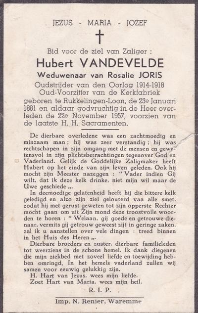 Doodsprent van Vandevelde, Henri Pierre Hubert.