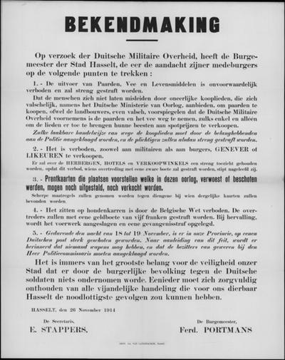 Stad Hasselt, affiche van 26 november 1914 - herinnering aan verbod.