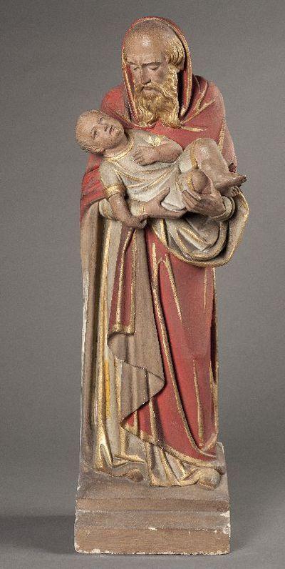 Simon de hogepriester en Jezus uit een beeldengroep met de presentatie van Jezus in de tempel