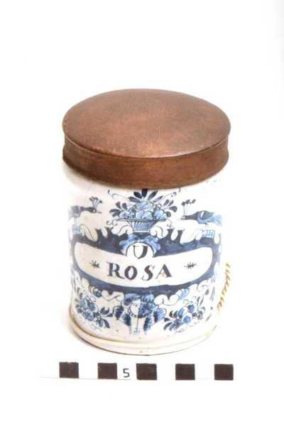 Delfts blauwe apothekerspot; U ROSA - PERLES D'APIOL