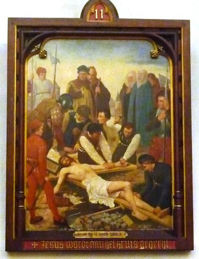 Statie 11: Jezus wordt aan het kruis gehecht.