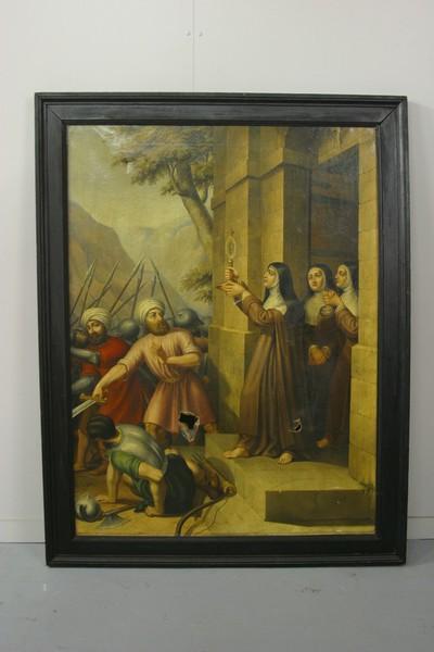 Heilige Clara van Assisi met de Saracenen