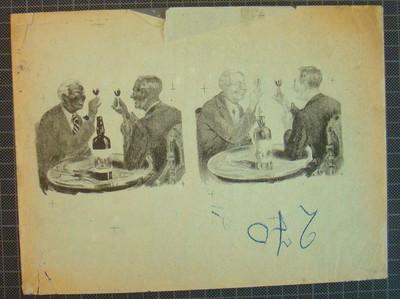 Drukplaat voor litho buiketiket, twee heren aan een tafel die een toast uitbrengen