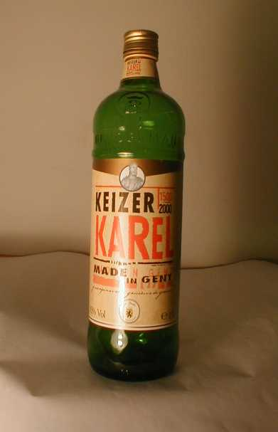 Fles 'Keizer Karel 1500-2000 graanjenever' voor Bruggeman, Gent, 1999-2000