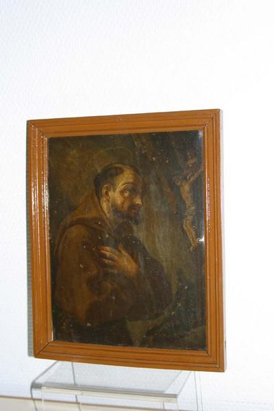Heilige Franciscus van Assisi in aanbidding voor het kruis